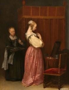 Engager une servante - Jeune dame et domestique