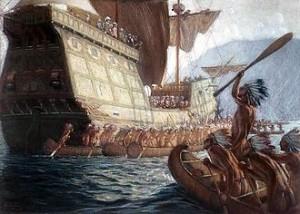 Indiens saluent le premier vaisseau européen