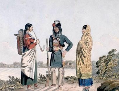 Métis canadien et ses deux épouses