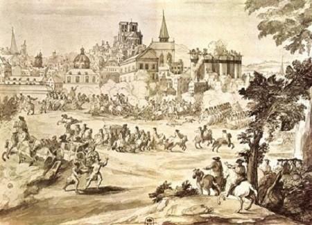 Combat pour l'occupation de la porte Saint-Antoine livré par le Prince de Condé le 2 juillet 1652 (Dessin aquarelle anonyme, XVIIe siècle, Bibliothèque nationale, Paris).