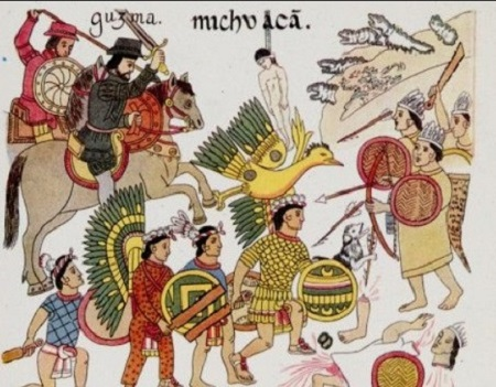 Cavalier espagnol passant devant le Grand Temple, tire d'une histoire aztèque, miniature, 1576, British Museum, Londres (John R. Freeman). Armé d'une pique, un Espagnol affronte un guerrier aztèque devant le grand temple de Tenochtitlan, la capitale du Mexique. Un autre Aztèque tape sur un tambour, utilisé au cours des sacrifices humains.