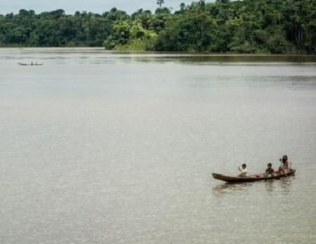 Similaires aux pirogues qui harcelèrent les bateaux d'Orellana, ce canoë, emportant à son bord une famille indienne, glisse sur des eaux aujourd'hui paisibles. La rivière, dans son bief supérieur, a une largeur de 800 mètres.