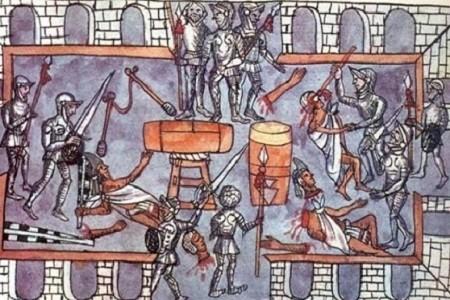 Massacre des Aztèques par des guerriers espagnols pendant la fête de Toxcatl, lithographie en couleur d'après l'illustration originale dans le Codex de Diego de Duran intitulé A History of the Indies and of New Spain, v. 1588. Library of Congress, avec l'autorisation de American Heritage Publishing Company Inc. Des célébrants Aztèques sont massacrés au cours d'une fête. Les Espagnols attaquèrent les guerriers désarmés, « alors que les danses devenaient particulièrement belles et les chants se succédaient. »