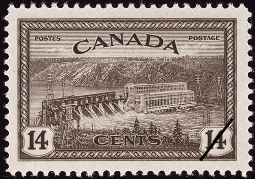 Timbre-poste représentant la Centrale hydroélectrique La Gabelle. Image libre de droits