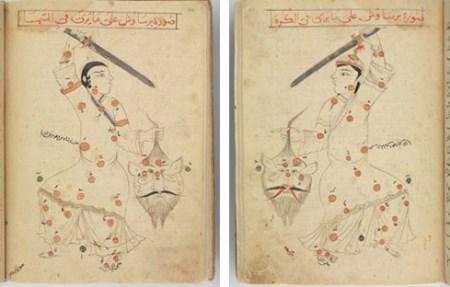 Perseus al Sufi. Livre des Constellations du cosmographe arabe al-Sufi, 15e siècle. Un Persée perse, à la robe étoilée d'après des constellations des anciens Grecs, tient la tête de Méduse. Travaillant à la rédaction de l'Almageste de Ptolémée, des astronomes arabes compilèrent des atlas, localisèrent et nommèrent des milliers d'étoiles. Le traité de géographie resta longtemps inconnu des astronomes occidentaux, mais il fournit une documentation très importante aux navigateurs espagnols et portugais. Gravure du 15e siècle.