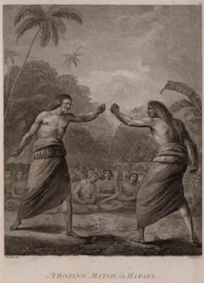 Des boxeurs d'Hapaee (îles de l'Amitié) se provoquent. En assistant à des luttes à Hapaee, îles de l'Amitié, gravure d'après une peinture par W. Hodges, National Maritime Museum, Greenwich (Lee Boltin).