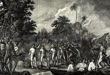 James Cook et son escorte débarquent à Tanna, une île volcanique des Nouvelles-Hébrides, sous la menaçante surveillance d'indigènes armés. Gravure par W. Hodges