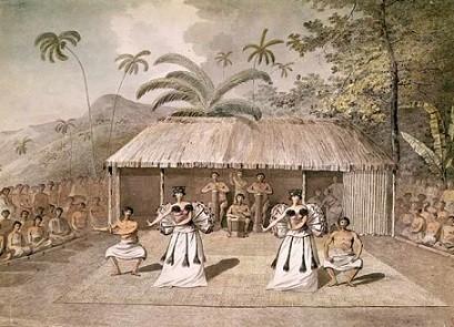 Danseurs costumés dans une pièce de théâtre tahitienne. Dames tahitiennes en train de danser, aquarelle de J. Webber.