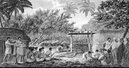 Les explorateurs assistent à un sacrifice humain à Tahiti, aquarelle de John Webber.