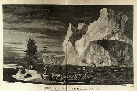 Des marins de l'Endeavour s'approvisionnent en blocs de glace, dont la fonte leur fournira de l'eau potable, gravure par B.T. Pouncy d'après un dessin de W. Hodges, National Maritime Museum, Londres.