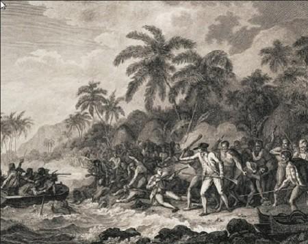 Mise à mort du capitaine Cook par des Hawaïens, gravure d'après un dessin de John Webber, tirée de l'Atlas of Cook' Third Voyage. Le capitaine James Cook (au centre, à droite) est tué par des Hawaïens en colère. Ils coupèrent son corps en morceaux et par la suite le restituèrent avec contrition en vue de ses funérailles à la mer.