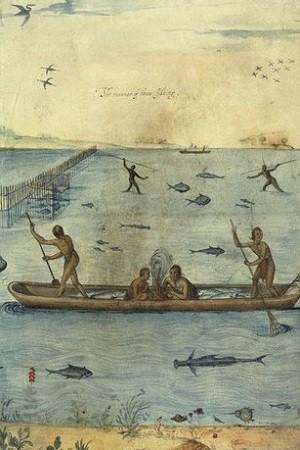 Pirogues indiennes, gravure de Sydney Richardson