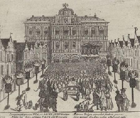 Cérémonie de la signature du Traité d'Anvers, gravure de l'époque.