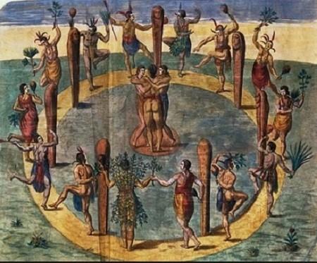 La danse mystique faisait partie des festivités auxquelles étaient invités les tribus voisins. Au centre, trois vierges dansent. Devant des pieux sculptés de têtes humaines, des danseurs, portant dans le dos le signe de leur village, bondissent.