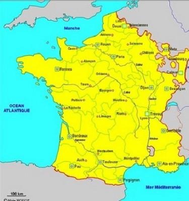 La France en 1715 (le royaume de France). Ses frontières sont déjà approximativement celles du XX siècle.