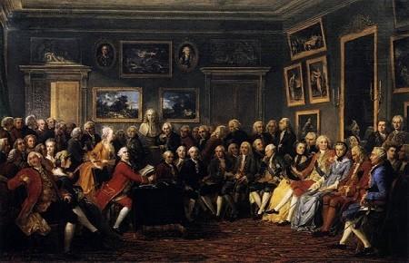 Lecture dans le Salon de Madame Geoffrin, par Lemonnier (Musée des Beau-Arts, Rouen, image libre de droits).