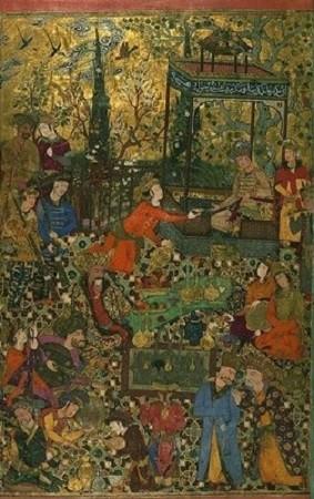 Sur ce tapis persan du XVIe siècle, d'étranges inconnus approchent de la côte à bord de leur haut vaisseau. Détail d'un tapis d'Ispahan, Perse, laine, XVIe siècle. Musée des Tissus, Lyon (André Gamet-Rapho, Rapho Guillumette).