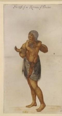 Le peintre anglais White a pris pour sujets cette squaw et son enfant et ce guerrier indien. Bon observateur, White ne fut pas un grand peintre ; les Indiens ont plutôt l'air d'Anglais musclés, portant arc en flèche.
