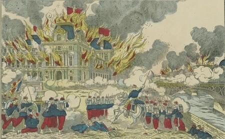 Insurrection de Paris – Incendie du palais des Tuileries, 23 mai 1871 (imagerie Pellerin, Epinal, Bibliothèque nationale, Paris). Image libre de droits.