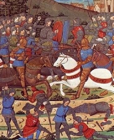 Bataille de Montlhéry, 1465 : près la fin de la guerre de Cent-Ans, la France connaîtra jusqu'à la Fronde du milieu du XVIIe siècle, de nombreux soulèvements armés provenant des grands féodaux qui acceptent mal l'affermissement du pouvoir royal Miniature pour la Chronique de Monstrelet, Bibliothèque nationale, Paris.