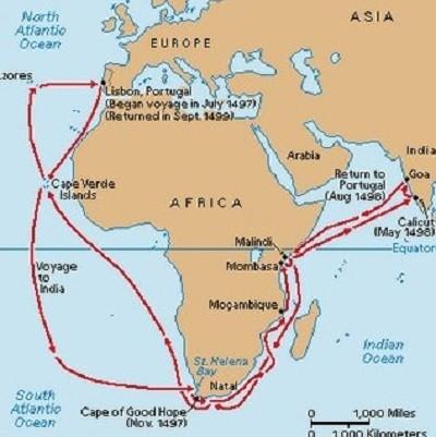 Carte du voyage de Vasco de Gama.