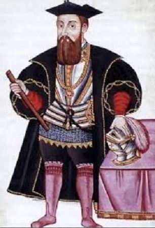 Vasco da Gama. À la recherche d'une voie maritime vers les Indes, Diego Cao reconnut la côte occidentale d'Afrique. Un autre Portugais, Barthelemeu Dias, doubla le cap de Bonne-Espérance. Leur compatriote Pêro Covilha emprunta une voie mi-maritime, passant par l'Égypte. Vasco de Gama, s'écartant franchement de la côte de l'Afrique, doubla le cap de Bonne-Espérance et, en fin des comptes, atteignit les Indes en 1498. En 1524, date de l'exécution de ce portrait, il fut nommé vice-roi des comptoirs portugais.