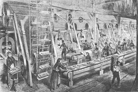 Atelier des tuileries de Monchanin, vers 1860. La révolution industrielle se développe au XIXe siècle : elle se traduit par la mécanisation du processus productif, la généralisation du salariat et s'accompagne de conditions de travail difficiles pour les enfants (Gravure de F. Morin, dessin de Roevens Collection Kharbine). Image libre des droits.