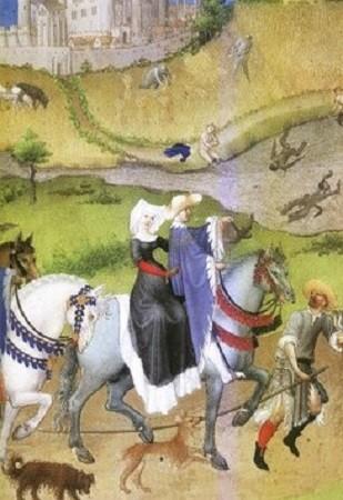 Départ pour la chasse au faucon au château d'Étampes. La société féodale est marquée par le sevrage permettant à la classe seigneuriale de 'adonner aux plaisirs de la chasse, de la table, des tournois. Le mois d'Août (Enluminure pour Les Très Riches Heures du Duc de Berry, par Paul Herman et Jean de Limbourg, début Xve siècle, Musée Condé Chantilly).
