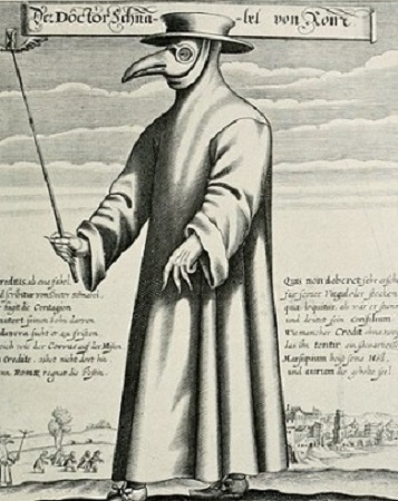 Un médecin qui porte le costume spécial développé pour lutter contre la peste. Gravure de l'époque