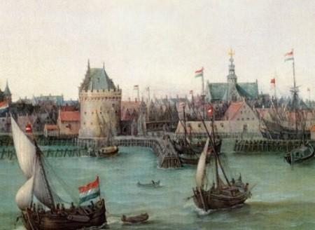 Vaisseaux de Vroom. Les vaisseaux de haut-bord, que H.C. Vroom représente ci-dessus, lourdement chargés à leur retour de Brésil, apportaient au pays d'immenses richesses. Image libre de droits.