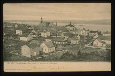 Vue panoramique de la ville de Lévis au XIXe siècle. Image libre de droits.